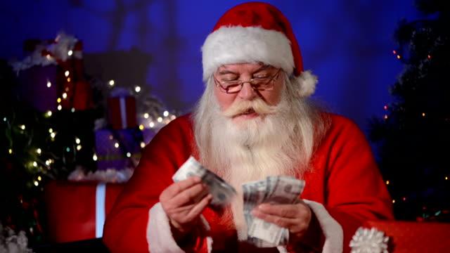 Santa Claus counting money