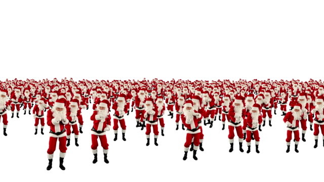 Santa Claus Crowd Dancing, Christmas Party, against white