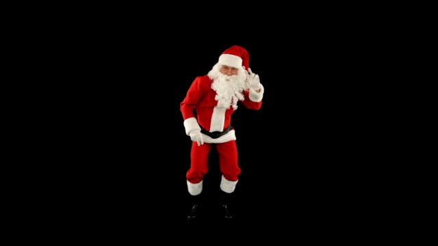 Santa Claus Dancing isolated, Dance 1, Luma Matte attached
