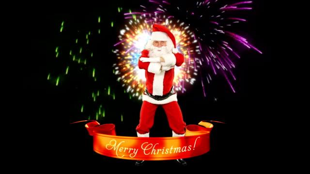 Santa Claus Dancing, Merry Christmas ribbon, fireworks video