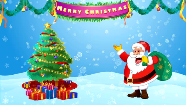 Santa Claus Decorating Christmas Tree and wishing Merry Christmas