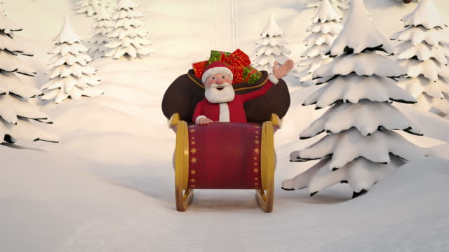 vídeos de stock e filmes b-roll de santa claus driving through snowy landscape in his sleigh. frontal view. seamless looping 3d animation - pai natal