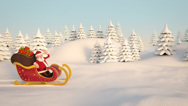 santa claus driving through snowy landscape in his sleigh. side view. 3d animation - slitta video stock e b–roll