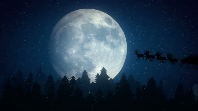 weihnachtsmann fliegt in front of the moon - rentier stock-videos und b-roll-filmmaterial