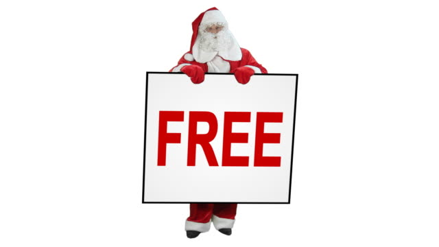 Santa Claus holds 'FREE' sign - 3 shots video