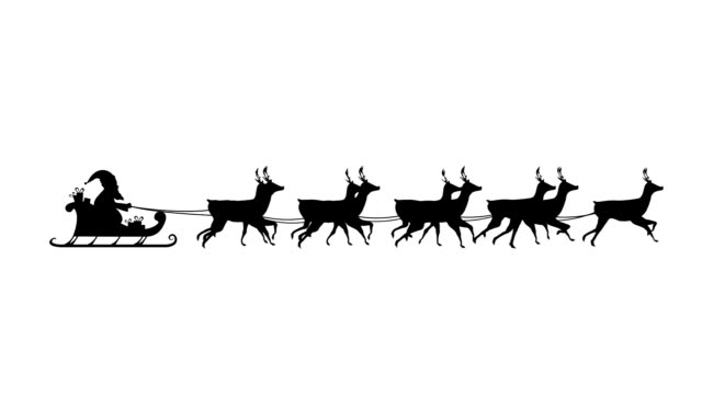 Santa Claus in sleigh pulled by reindeers Animation of a black silhouette of Santa Claus in sleigh being pulled by reindeers on a white background hd format stock videos & royalty-free footage