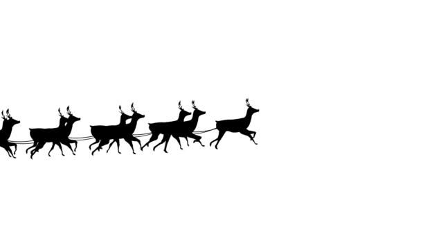 jultomten i släde dragen av renar - abstract silhouette art bildbanksvideor och videomaterial från bakom kulisserna
