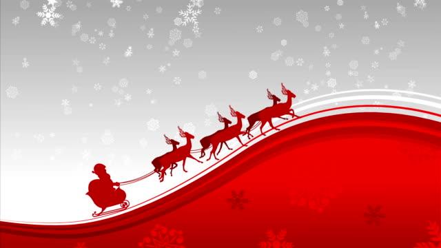 santa claus in schneeflocken hintergrund schleife - weihnachtskarte stock-videos und b-roll-filmmaterial