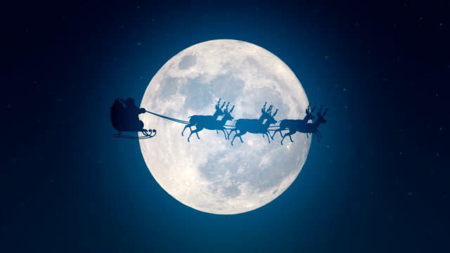 Santa Claus is flying in his sleigh over a full moon