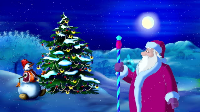Santa Claus Lights a Christmas Tree in the Moonlit Night video