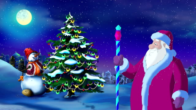Santa Claus Lights a Christmas Tree on the Eve of the Holiday video