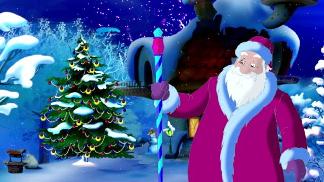 Santa Claus Lights a Christmas Tree video