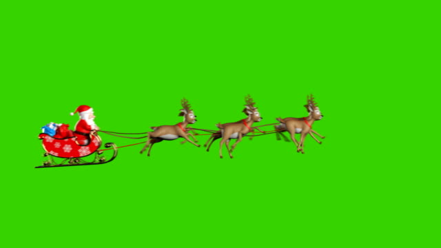 vídeos de stock e filmes b-roll de santa claus on a reindeer sleigh flying on a green background - pai natal