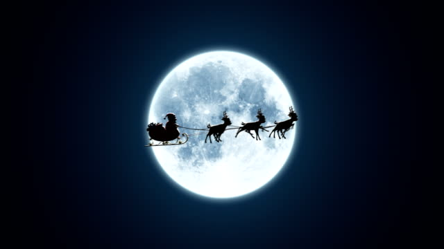 vídeos de stock e filmes b-roll de santa claus on a reindeer sleigh flying on the background of the moon - pai natal