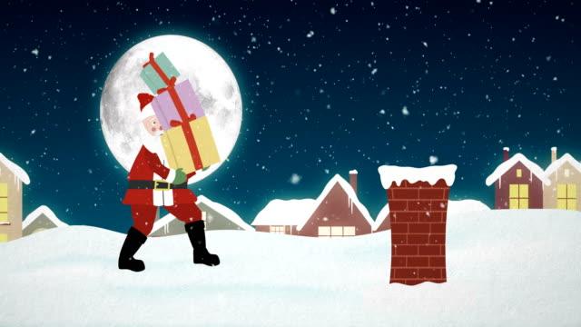 санта-клаус на крыше с подарочными коробками - дымоход стоковые видео и кадры b-roll