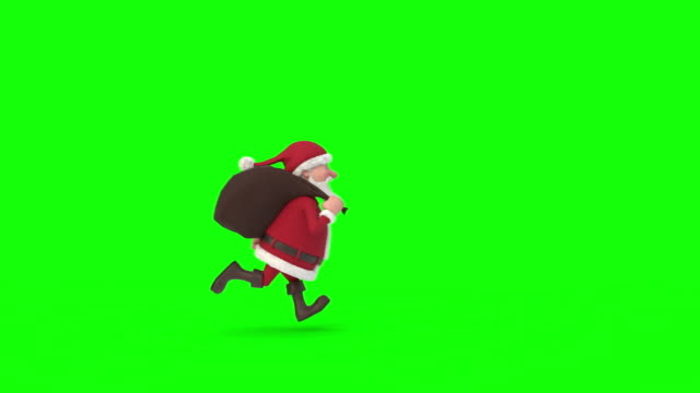 Santa Claus running on green background across the screen. Seamless looping 3d animation