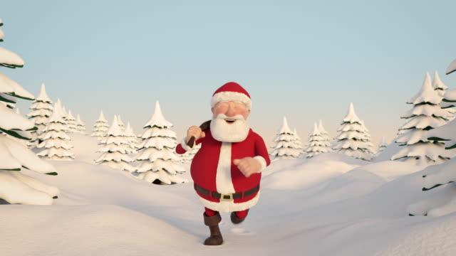 santa claus durch tief verschneite landschaft laufen. frontale ansicht. nahtlose schleife - weihnachtsmann stock-videos und b-roll-filmmaterial