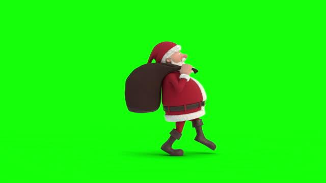 santa claus smyga över på en grön-screen bakgrund. sömlös looping 3d-animering. side view - på tå bildbanksvideor och videomaterial från bakom kulisserna