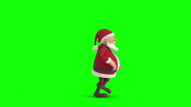 santa claus sneaking across on a green-screen background. seamless looping 3d animation. side view - santa claus tiptoeing video stock e b–roll
