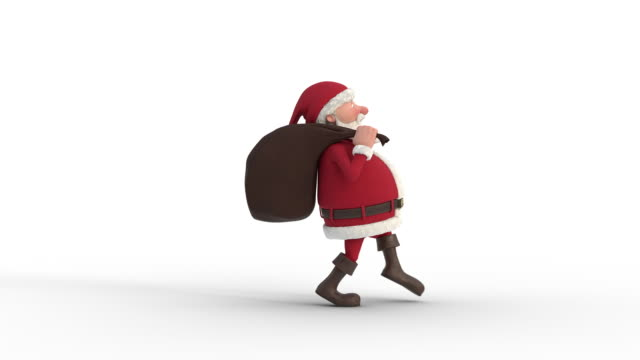 santa claus sneaking across the screen. seamless looping 3d animation. side view - santa claus tiptoeing video stock e b–roll