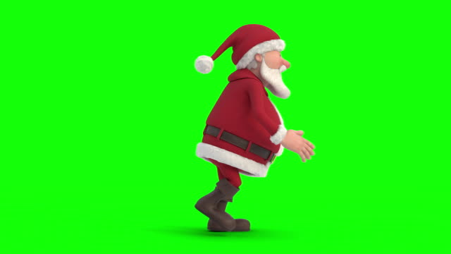 santa claus sneaking on green-screen background. seamless looping 3d animation. side view - santa claus tiptoeing video stock e b–roll