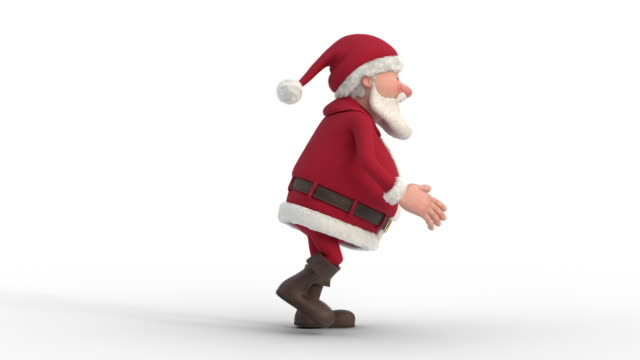 santa claus sneaking on white background. seamless looping 3d animation. side view - santa claus tiptoeing video stock e b–roll