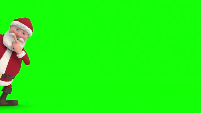 vídeos de stock e filmes b-roll de santa claus sneaks across the screen and snaps fingers – green screen version - pai natal
