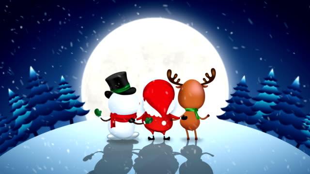 Santa Claus Snowman and Reindeer dancing.