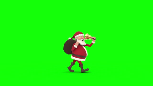 vídeos de stock e filmes b-roll de santa claus walking on green background across the screen. seamless looping 3d animation - pai natal