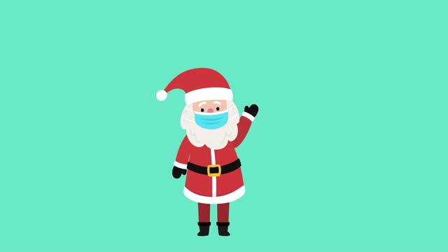 Santa Claus waves Santa Claus waves, to wish happy holiday while he is wearing a face mask to prevent Covid-19 animation moving image stock videos & royalty-free footage