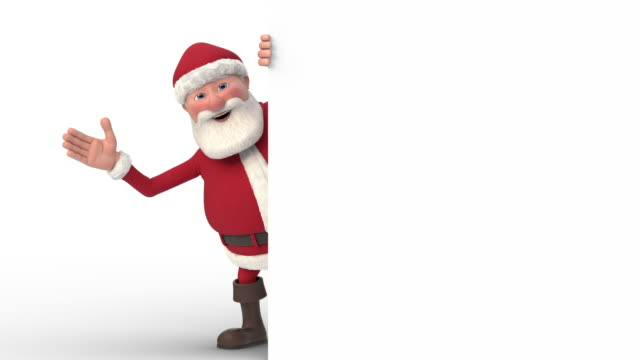 vídeos de stock e filmes b-roll de santa claus waving and pointing from behind a white sign - seamless looping 3d animation - pai natal