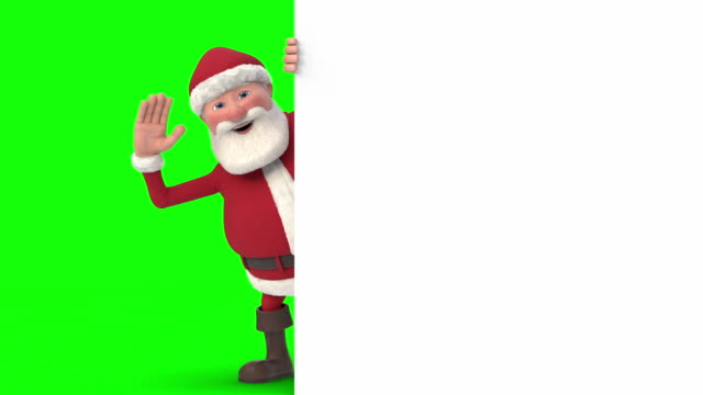 vídeos de stock e filmes b-roll de santa claus waving and pointing from behind a white sign - seamless looping 3d animation - greenscreen version - pai natal