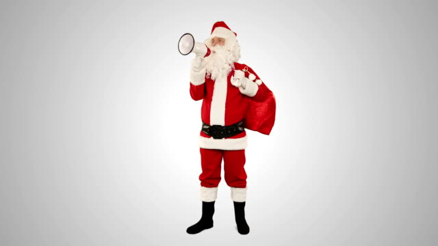 Santa Claus with a loudspeaker making an announcement, against white video