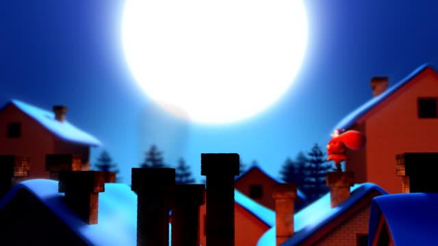 stockvideo's en b-roll-footage met santa claus with bag on the rooftop. - schoorsteen