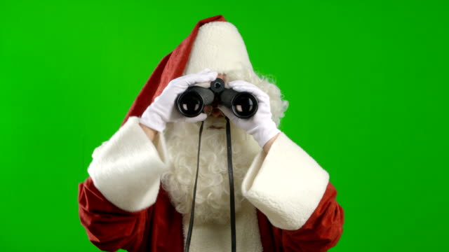 Santa Claus with Binoculars Looking Around video