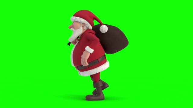 santa claus with gift bag sneaking on green-screen background. seamless looping 3d animation. side view left - santa claus tiptoeing video stock e b–roll