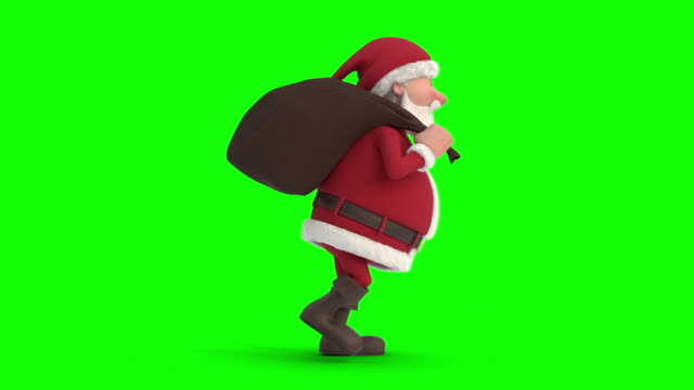 santa claus with gift bag sneaking on green-screen background. seamless looping 3d animation. side view right - santa claus tiptoeing video stock e b–roll