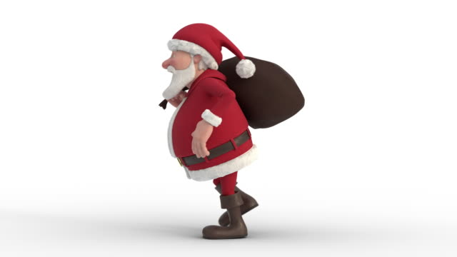 santa claus with gift bag sneaking on white background. seamless looping 3d animation. side view left - santa claus tiptoeing video stock e b–roll