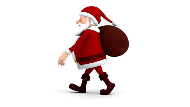 Santa Claus with gift bag walking video