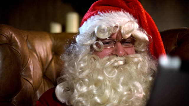 Santa Claus with tablet video