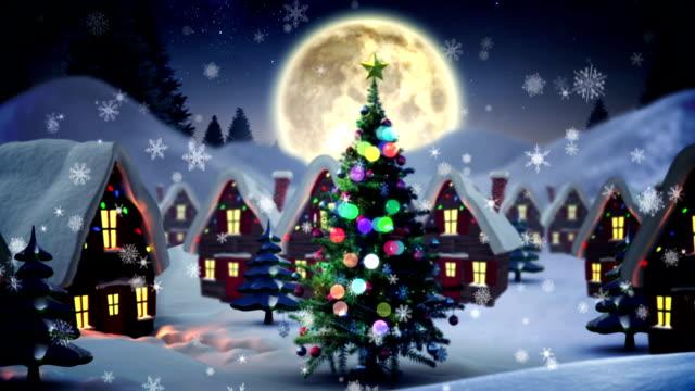 Santa delivering presents to christmas village video