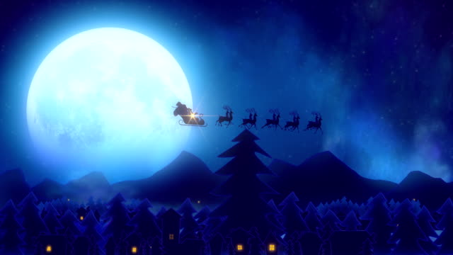 Santa flies over moon and woke up the village with star and christmas tree