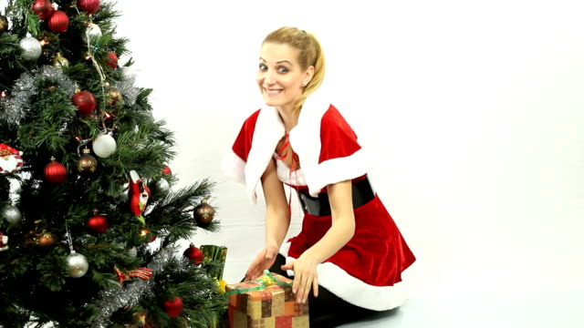 Santa girl with gifts video