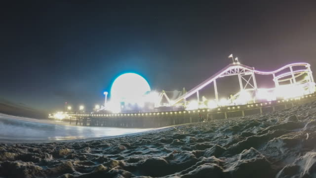 Santa Monica beach and pier in stunning motion time lapse shot video
