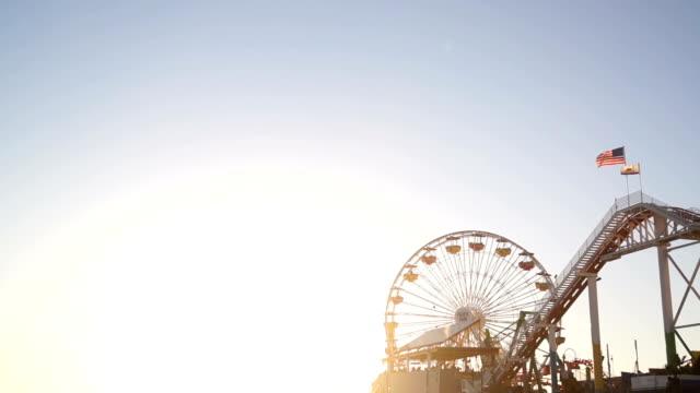 Santa Monica Pier at Golden Hour video