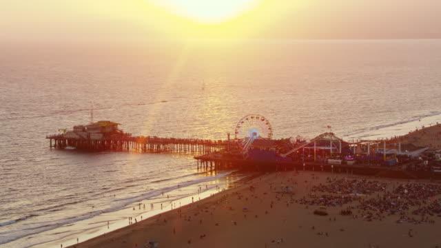 AERIAL Santa Monica Pier, CA at sunset
