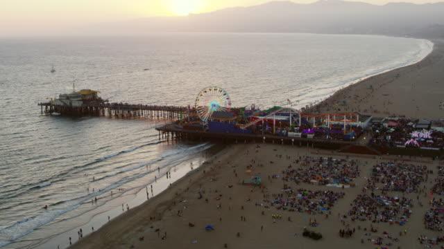 AERIAL Santa Monica Pier, California at sunset