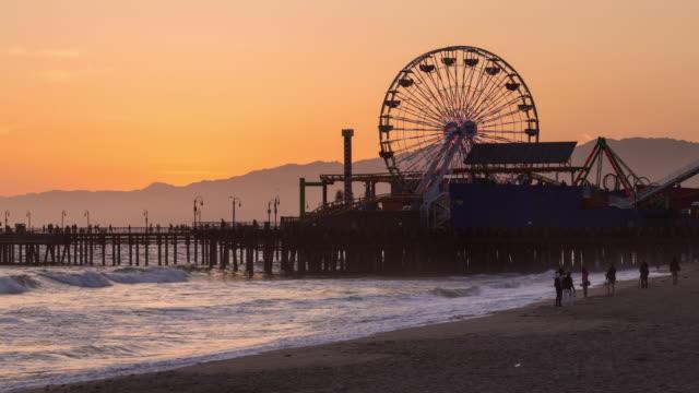 Santa Monica Pier, California Day to Night Sunset Timelapse video