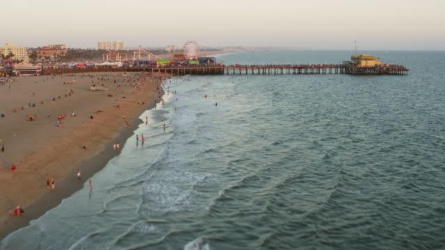 AERIAL Santa Monica Pier in California, USA