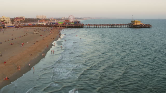 aerial santa monica pier in california, usa - california video stock e b–roll